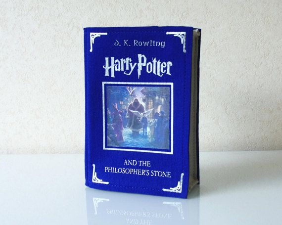 """""""Harry Potter and the Philosopher's Stone"""" by J.K. Rowling - blue felt bag"""