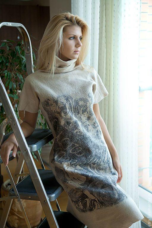 """Купить Валяное платье """"Прогулка с Сavalli """". - платье, платье валяное, нунофелтинг, нуно-фелтинг"""