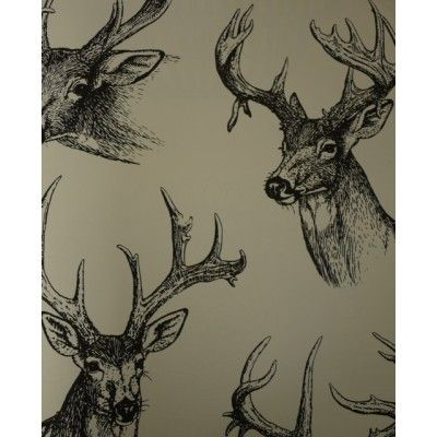 Stag's Head Wallpaper www.graceandgrey.co.uk