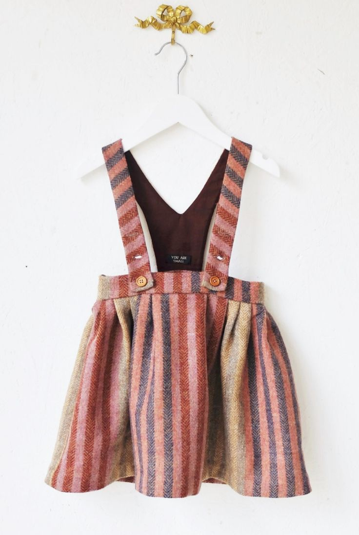 Striped Wool Dungaree Skirt by YouAreSmall on Etsy
