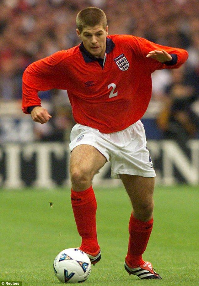 On the rampage: Wearing an unfamiliar number two shirt, Gerrard made his England debut in a pre-Euro 2000 warm-up with Ukraine at Wembley