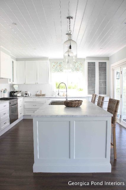 White Kitchen Cabinets White Shiplap Ceiling Dark Wood
