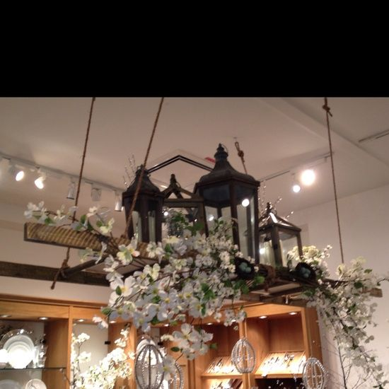 hanging ladder from ceiling | Decorating ideas / Decorative ladder hanging from the ceiling. It had ...