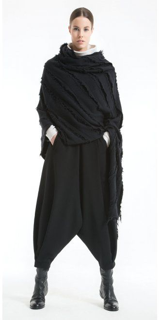 Okishi Stunning Black Wool Wrap AW15