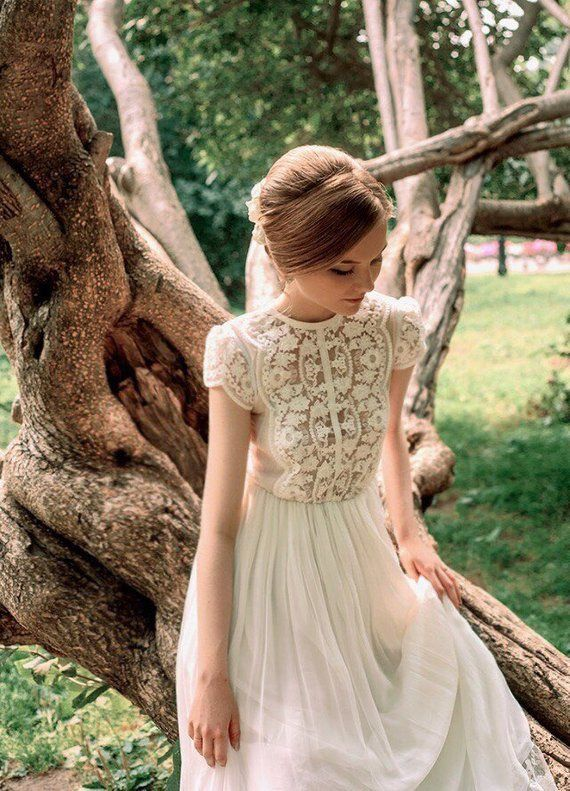 Kleid D0035 | Boho Brautkleid, Boho Kleid, Strand Brautkleid, romantische Hochzeitskleid, Brautkleid, Boho Kleid, Tüll-Kleid