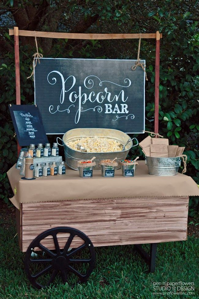 At long last I am finally posting the pictures of the re-styled Rustic Popcorn Bar I created for our Neighborhood Fall Family Picnic . (S...