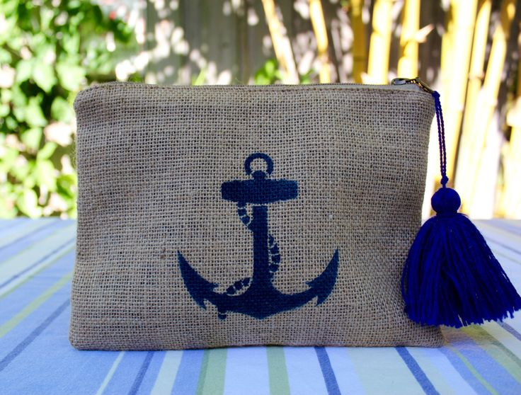 Anchor jute pouch, customized cosmetic bag, anchor burlap clutch, personalized gift, beach-chic jute bag, boho-beach inspired makeup bag by TheAtelierUnique on Etsy
