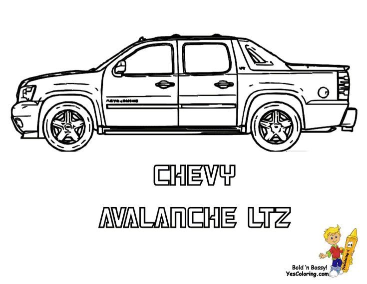 chevy avalanche truck colouringpage avalanche truckcoloring sheetscoloring pages