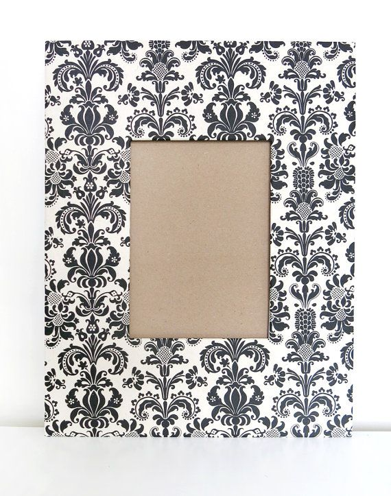 Black & White Damask 11x14 Mat Picture Frame by aisle5art on Etsy, $25.00