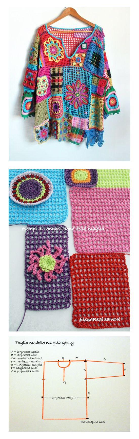 Crochet vintage sweater - similar gypsy stile -Elena Regina Wool - tutorial (ita)