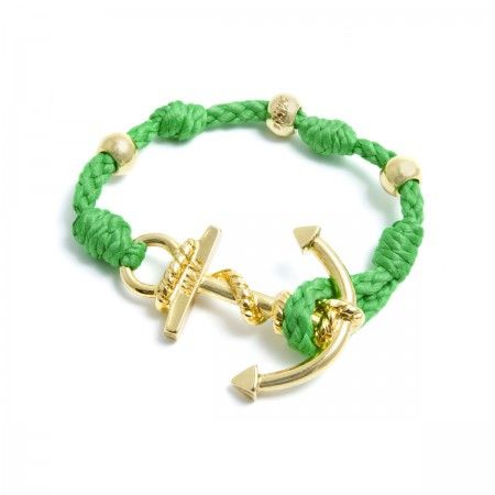 Adjustable Bracelet (up to 22 cm) spheres and anchor to choose between silver or gold. Bracelet Color: Green Made in Italy