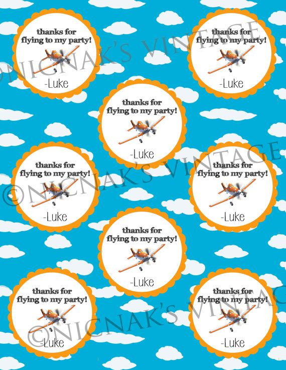 Dusty Plane Birthday Thank You Tags  Instant by NicNaksVINTAGE, $3.00