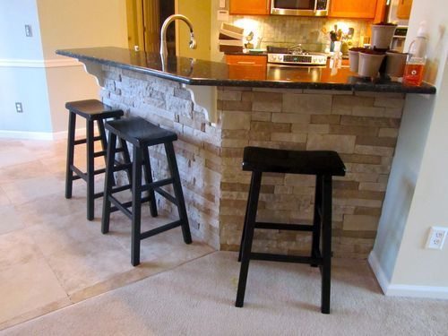 Diy Breakfast Bar Frame Built To An Existing Kitchen Island: Tile The Breakfast Bar