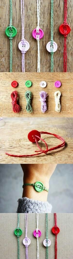 DIY Button bracelet...fun n ez project for kids on rainy summer days