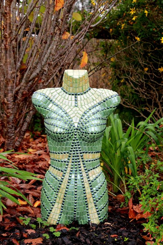 The Jade Lady - Mosaic Torso by Sandra Holmes - Waiuku NZ