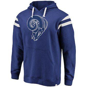 504a064e Men's Los Angeles Rams NFL Pro Line by Fanatics Branded Navy/White True  Classics Retro Stripe Pullover Hoodie