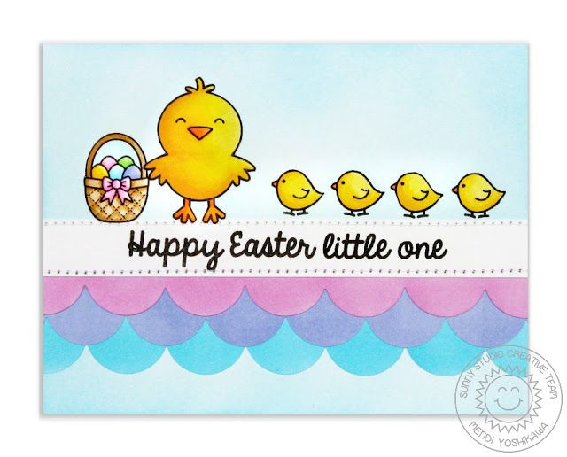 Sunny Studio Stamps: Easter Wishes & A Good Egg Chick Card by Mendi Yoshikawa