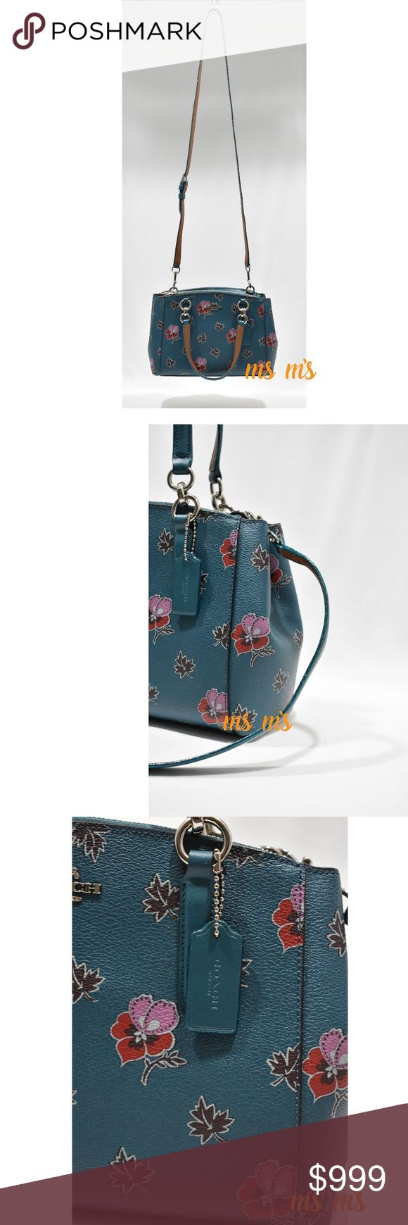 "NWT coach satchel crossbody COLOR:  SILVER/DARK TEAL( blue) Printed coated canvas Inside snap and multifunction pockets Snap closure, fabric lining Side zip compartments Handles with 5 3/4"" drop Detachable strap with 23 1/2"" drop for shoulder or crossbody wear 10 1/2"" (L) x 7"" (H) x 4"" (W) Coach Bags Satchels"