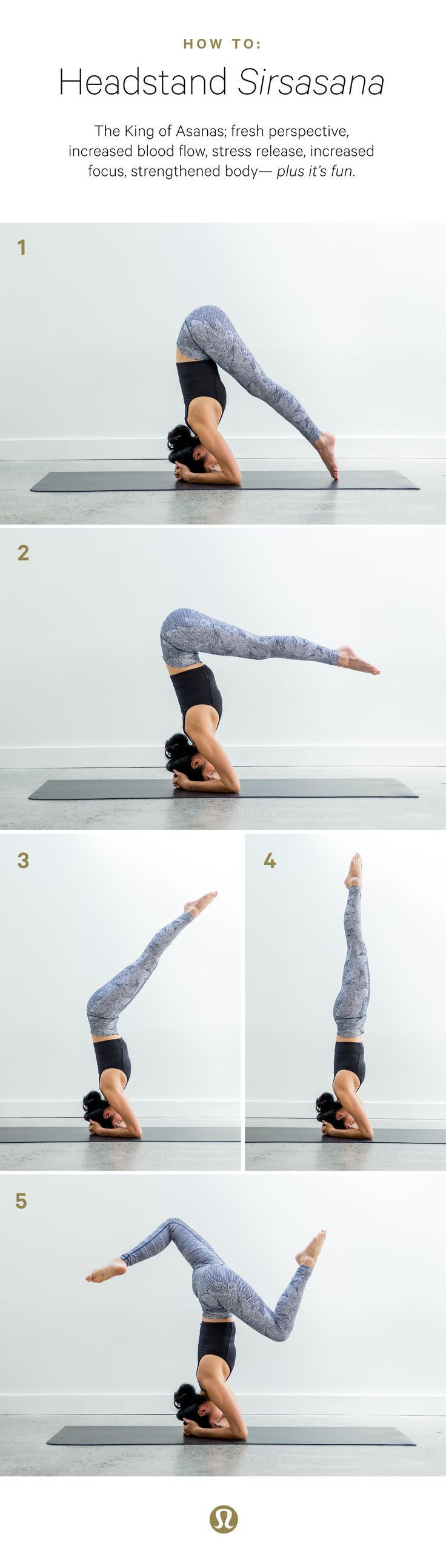 How to headstand (sirsasana). Step one: head to a local yoga class to get in person instruction, then play at home using a wall. Start with your elbows one forearms distance length away from one another. Walk your feet in to get your hips as high as possi