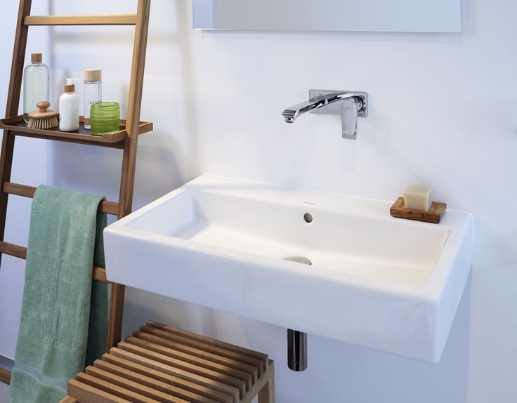 A ladder as a bathroom shelf for accessories - in combination with the  wall-mounted
