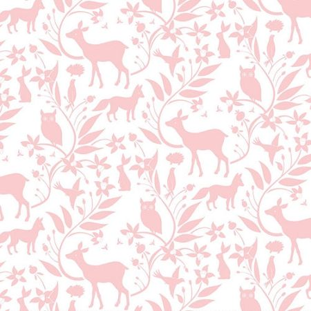 Pink Woodland Fabric | Ana Davis by Blend Born Wild Woodland Creatures Pink
