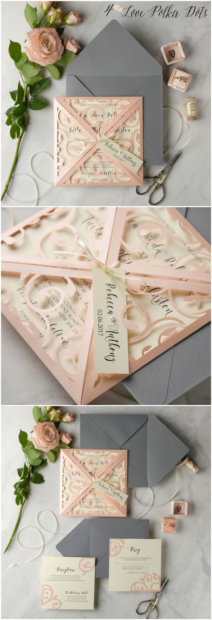 Romantic Blush & Grey laser cut lace wedding invitations #sponsored