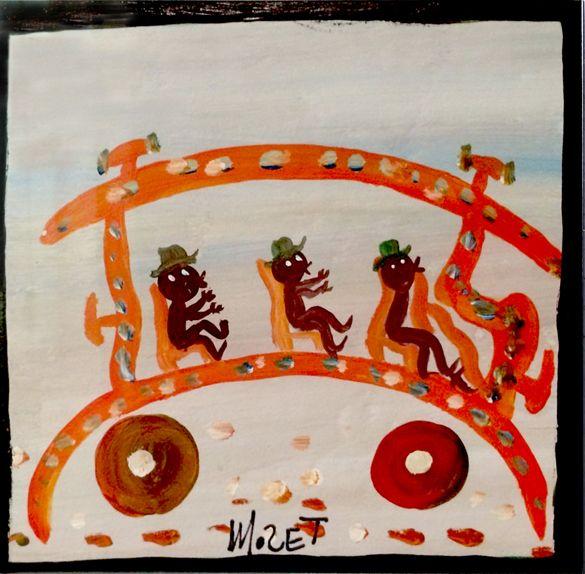 Der Afroamerikaner Mose Tolliver, 1920 (?)-2006, aus Alabama, begann nach einem schweren Unfall, der seine Beine zertrümmerte und ihn für den Rest seines Lebens arbeitsunfähig machte, als Autodidakt an zu malen. Er blieb zeitlebens behindert. seine Selbstbildnisse zeigen ihn mit Krücken.