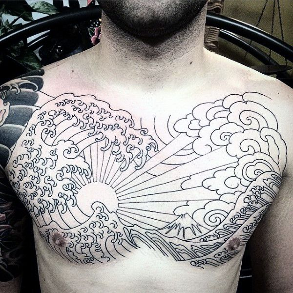 Mens Full Chest Japanese Sun And Ocean Waves Tattoo