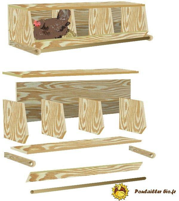 plan d'un nid pondoir pour poule intérieur de poulailler