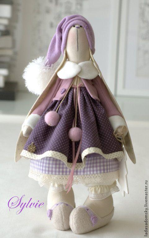 Купить Зайка Силвия - текстильная игрушка 38 см - сиреневый, зайка девочка, зайка игрушка