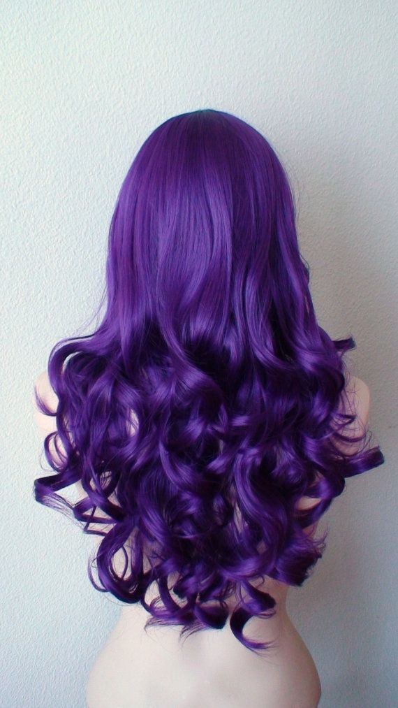 Deep purple wig. Long curly hair long side bangs wig. by kekeshop