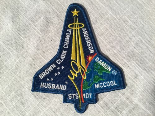 STS 107 NASA Mission Patch 113th Flight Space Shuttle Embroidered Brown Clark