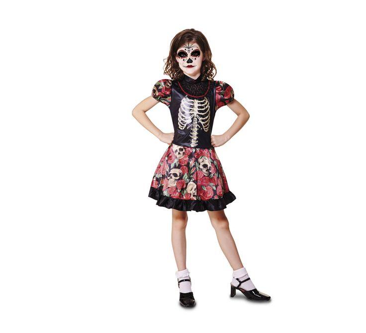 Disfraz de niña Día de los Muertos para niñas en Halloween. Si aún no sabes de qué disfrazarte, este disfraz de niña para Halloween es de lo más original. Además, dale una vuelta con el maquillaje y deja volar tu imaginación.