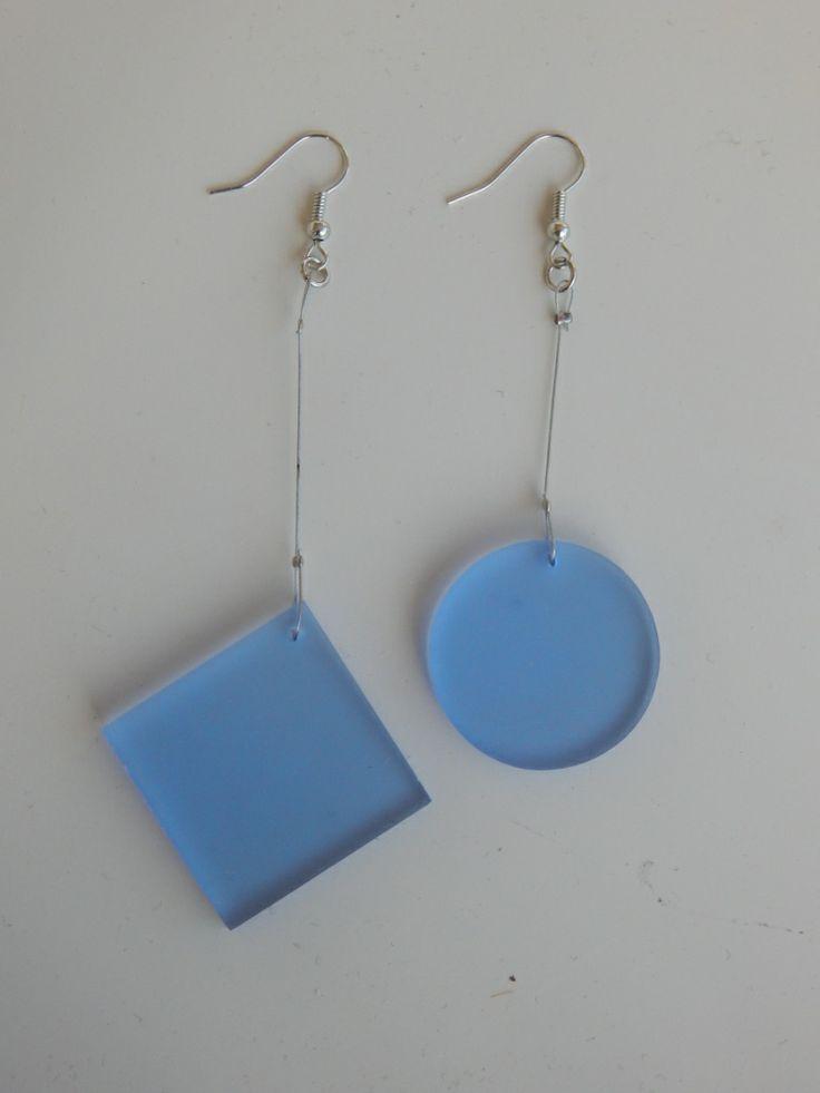 (108) σκουλαρίκια από πλέξι γκλάς γαλάζιο