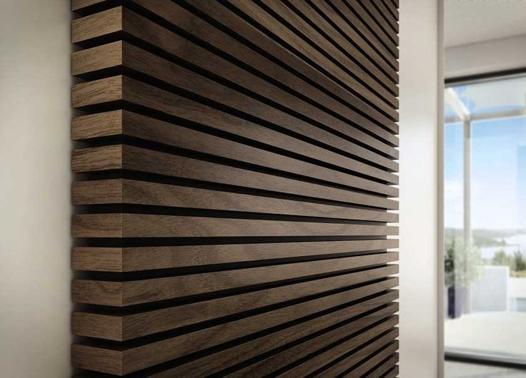 Wood slat feature wall behind tv
