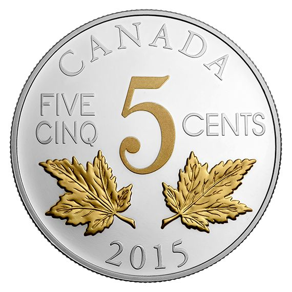 1 oz. Fine Silver Gold-Plated Coin - Legacy of the Canadian Nickel: The Two Maple Leaves - Mintage: 8,500 (2015)
