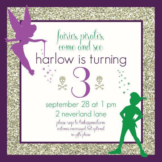 Fairy & Pirate/Neverland Birthday Invitation by CapitolConfetti, $15.00