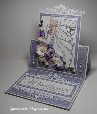 Bryllupskort Bryllup scrapping Handmade Kortparadis Easelcard staffelikort Korthobby NorskStempelblad wedding weddingcard
