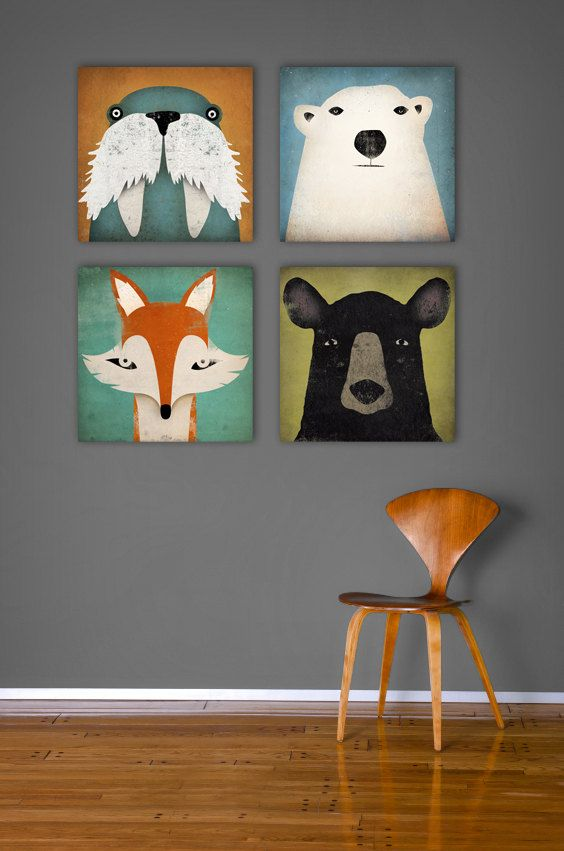 Four Native Vermont Studio ready-to-hang 12x12x1.5 canvas wall art. Mister Fox, Polar Bear, Ursus Americanus, and The Walrus. This listing is for
