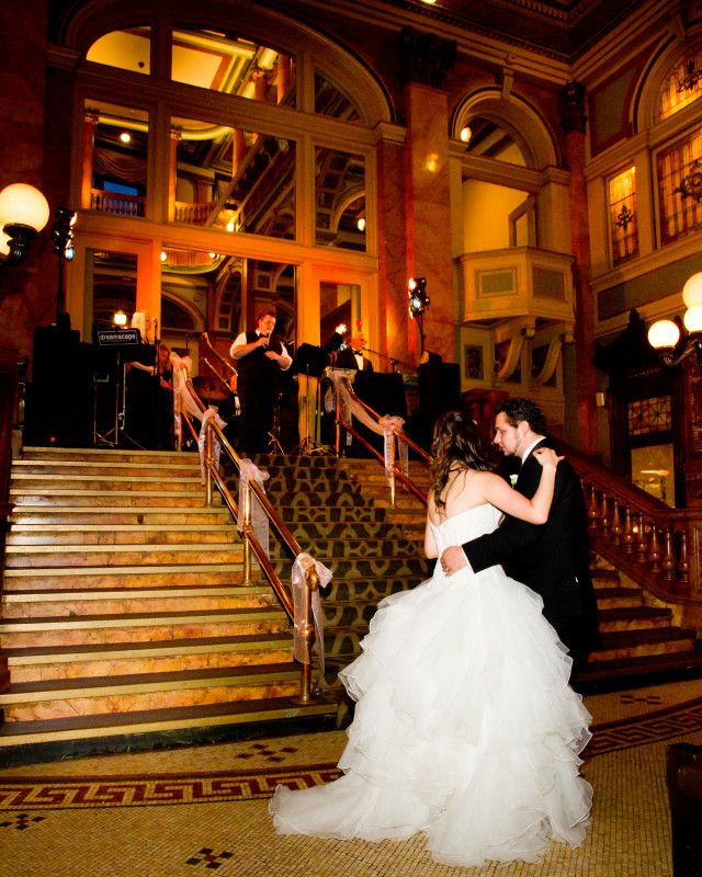 The Couple Swayed Together Romantically During Their First Dance As Dreamscape Band Played