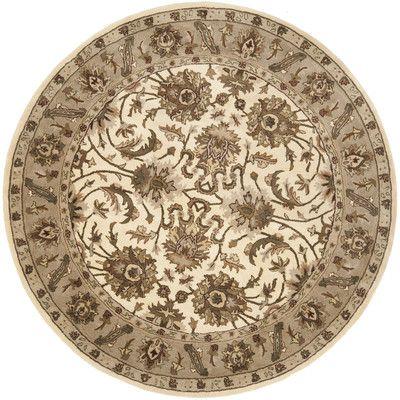 Safavieh Royalty Ivory/Dark Beige Rug Rug Size: Round 7'
