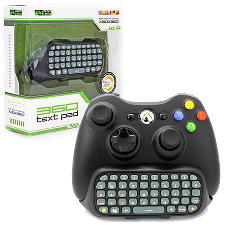 Black Xbox 360 XBOX Live Text Controller Pad Adapter  https://www.retrogamingstores.com/gaming-accessories/xbox-360-adapter-text-pad-black-kmd-komodo   Text Pad features like full QWERTY Keyboard.