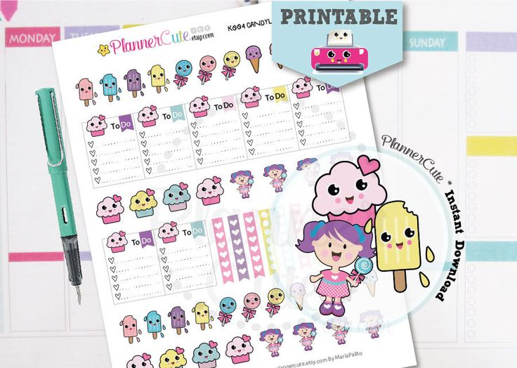 Free Printable Kawaii Planner Stickers by Plannercute – Partymazing