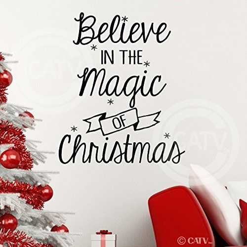 Tall Believe In The Magic Of Christmas Wall Saying Vinyl Lettering Decal  Home Decor Art Quote Sticker Black *** Be Sure To Check Out This Awesome  Product.
