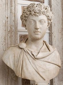 """A bust of Marcus Aurelius as a young boy (Capitoline Museum). Anthony Birley, Marcus' modern biographer, writes of the bust: """"This is certainly a grave young man.""""[17]"""