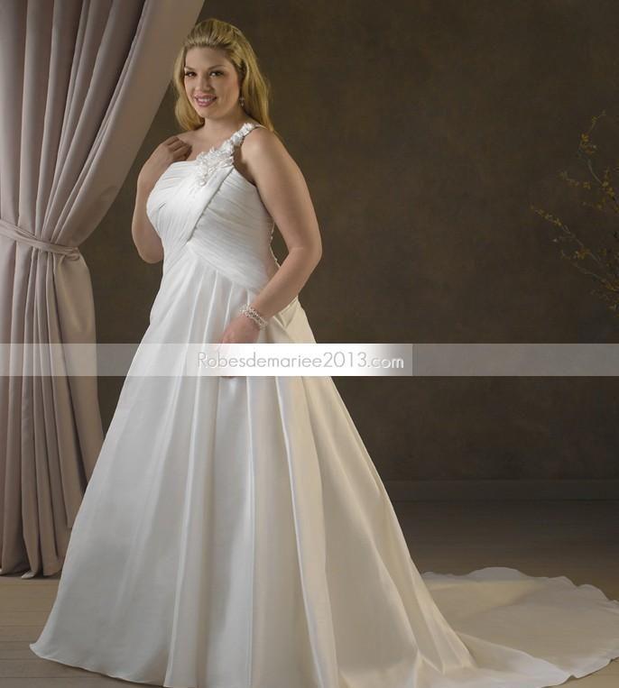 Fabuleuse Empire Bustier Longueur asymétrique sol Pick-up Chapelle Robe de mariée grande taille