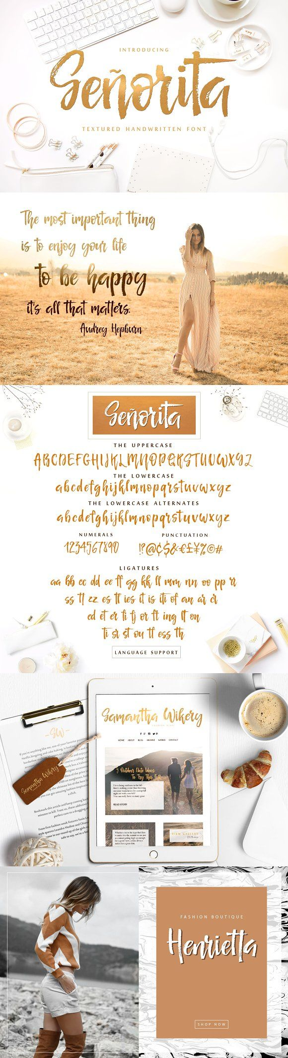 Señorita Handwritten Textured Font by IraDvilyuk Introducing the new hand drawn script Señorita. This font was hand written with dry brush and will look great on branding design, posters, apparel, for logotype, website header, fashion design, wedding card design and any more. affiliate