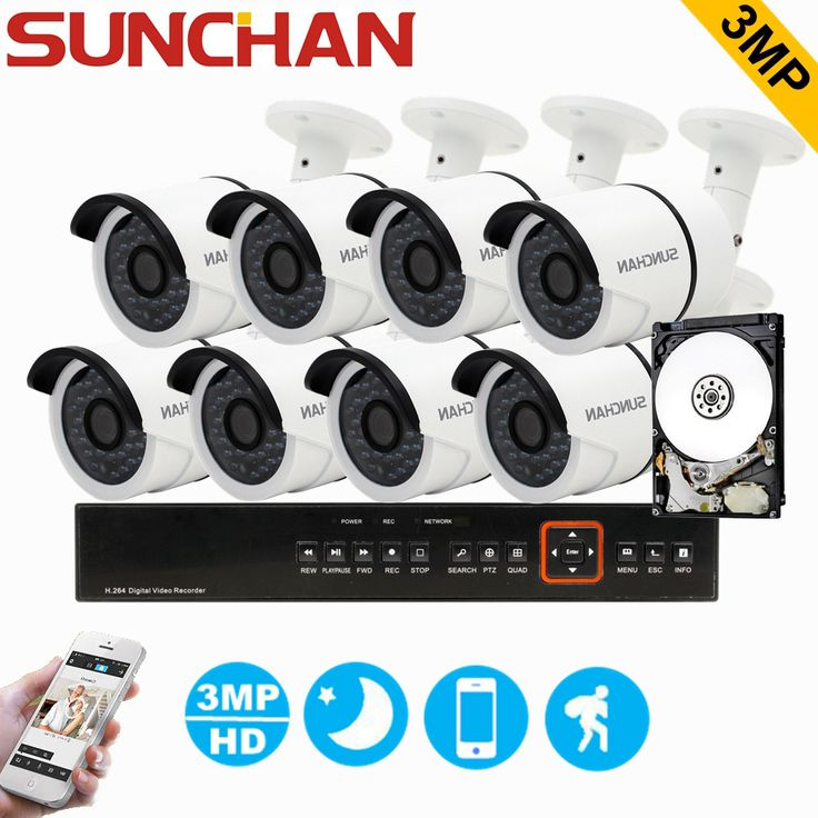 SUNCHAN 8CH 3MP CCTV System HD TVI DVR 8PCS 2048*1536 TVI Security Camera Outdoor CCTV Camera Home Surveillance System with HDD #Affiliate