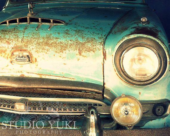 Classic Car Austin  Blue Green Vintage Car  Fine Art by StudioYuki, $30.00
