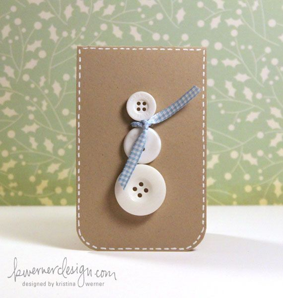 button snowman tag idea~how cute!Cute Cards, Winter Crafts, Snowman Crafts, Buttons Christmas Cards, Holiday Cards, Gift Tags, Buttons Snowman, Buttons Cards, Snowman Cards